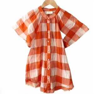 Maeve Plaid Butterfly Sleeve Button Up Blouse